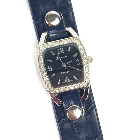 Navy and Silver with CZ Bezel Fashion Watch